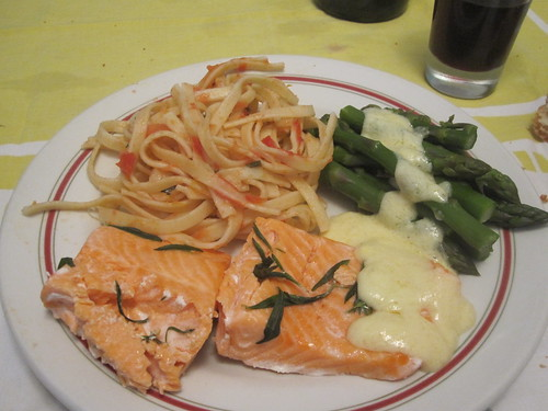 Salmon, pasta with veggies, asparagus with hollandaise at granny's