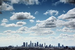 Los Angeles skyline (Konstantin Sutyagin) Tags: california city travel blue sky urban horizontal skyline architecture clouds america buildings landscape outdoors la photo losangeles spring cool downtown cityscape view skyscrapers angeles outdoor background horizon towers perspective scenic fluffy wideangle nobody landmark center american hollywood vista destination