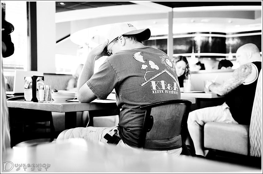 Thinking alone B&W.