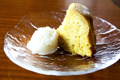 Tortuga Key Lime Rum Cake with Homemade Virgin Mojito Sorbet
