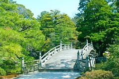 Bridge in the garden of Imperial Palace...Kyoto...Japan (Hopeisland) Tags: old bridge trees plant green nature japan garden spring kyoto palace imperial april colourful imperialpalace 2010
