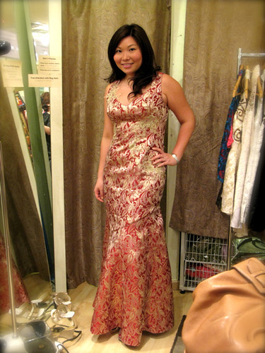 Red & Gold Brocade Mermaid Gown with Gold Lace Applique