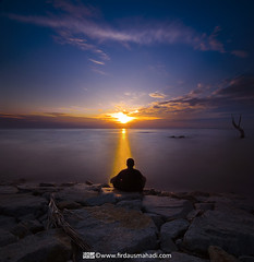 Greatness Wisdom (Firdaus Mahadi) Tags: longexposure light sunset sky sun beach silhouette rock landscape scenery laut malaysia awan batu pantai langit portdickson cahaya pemandangan matahari longexposures nd400 petang lightpath negerisembilan telukkemang vertorama manfrotto055xprob tokina1116mmf28 firdausmahadi firdaus