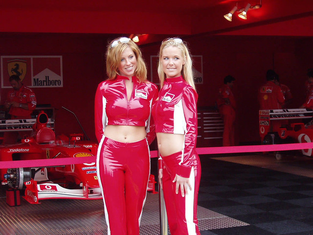 Hot Marlboro girls in the Ferrari F1 paddock