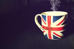 Fresh MooD.. (- M7D . S h R a T y) Tags: blue red white cup afternoon tea flag smoke british wordsbyme ®allrightsreserved™