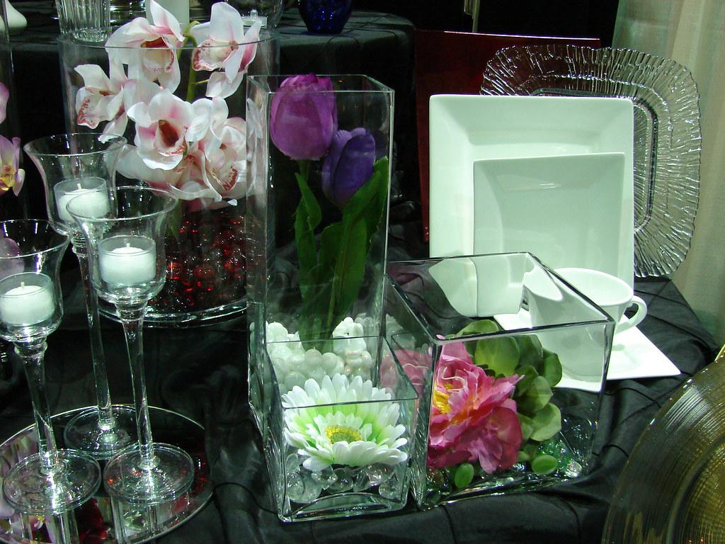 Event Essentials Square Vases at 2010 Summer Bridal Shower