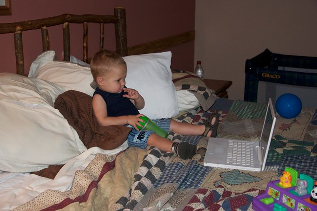 The laptop and Thomas were lifesavers at naptime and in the middle of the night.