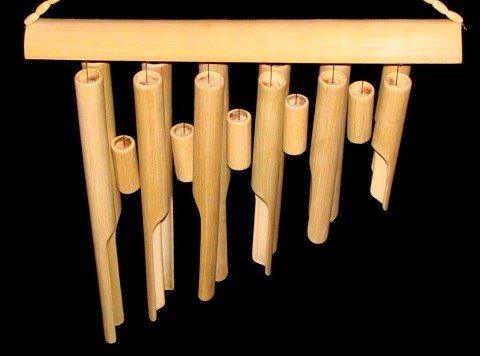 Bamboo Wind Chimes Close up