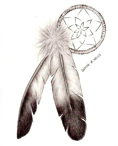 """Dreamcatcher and Eagle Feathers"" tattoo design by Denise A. Wells"
