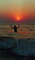 Ending the day with a dip in the Arabian Sea (Yvon from Ottawa) Tags: sunset sea india beach warm goa arabian bathing colva