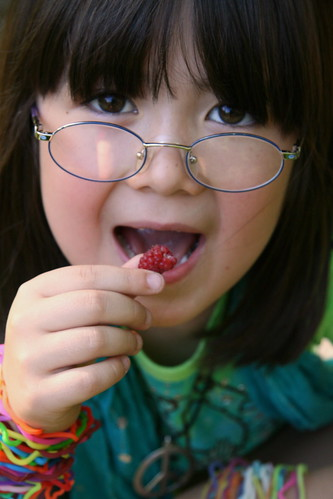Eating raspberries