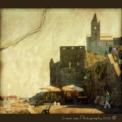 In the last rock of the cape (in eva vae) Tags: old sea italy panorama seascape church nature water wall umbrella photoshop canon bench boat rocks warm eva italia framed liguria chess medieval belltower canvas processing cape romanesque portovenere squared textured laspezia spietro layred eos500d estremit eoskissx3 eosrebelt1i inevavae thelittlebookoftreasures