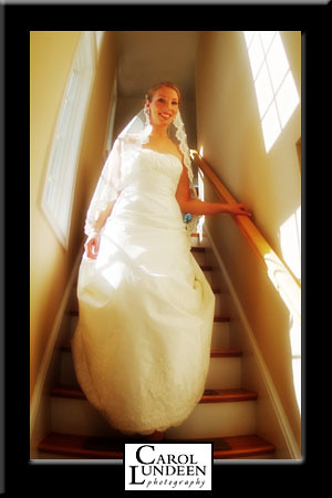 Laura Shannon comes down the stairs, ready for her wedding, Cape Cod