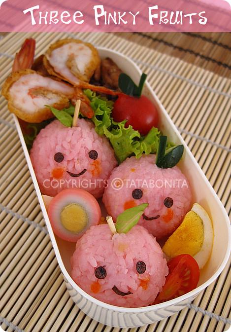 Three Pinky Fruits Bento 1