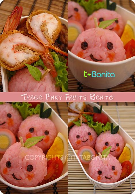 Three Pinky Fruits Bento 2