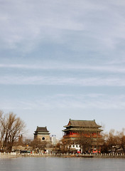 chill time (Xuan Che) Tags: 2005 china city blue trees winter sky lake cold tower history festival skyline architecture frozen spring drum capital beijing newyear belltower february icy houhai canonixus400