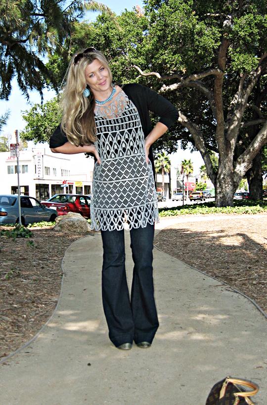 J Brand bell bottom lovestory jeans+white and warren crocheted dress
