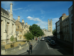 Magdalen College (Isisbridge) Tags: street old city uk england urban building tower english college architecture town university britain medieval historic campanile oxford british highstreet oxfordshire magdalen buswindowshot