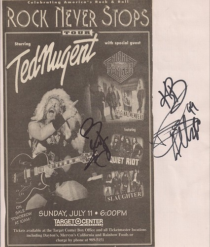 07/11/99 Ted Nugent/Night Ranger/Quiet Riot/Slaughter @ Minneapolis, MN (Ad)(Autographed by members of Quiet Riot)