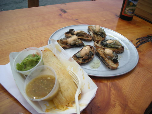 Fresh oysters and tamales for lunch