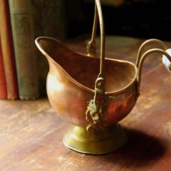 Vintage Copper Pot with Ceramic Handle (calloohcallay) Tags: holland netherlands vintage ceramic handmade antique lion housewares pot copper pail scullery calloohcallay