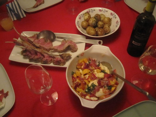 Nectarine salad, rack of lamb, potato with dill butter