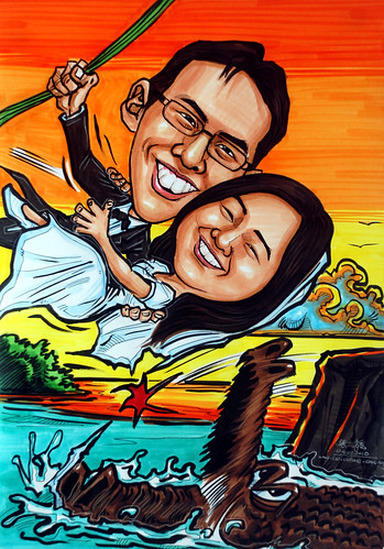 wedding couple caricature -here comes my hero