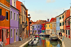 Interesting story behind the colors... (strawberrylee) Tags: houses homes italy colors boats canal burano veneto