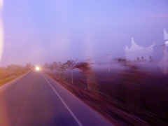 (mister sullivan) Tags: road morning mist blur bus fog speed thailand dawn lights glow open bythewaterside
