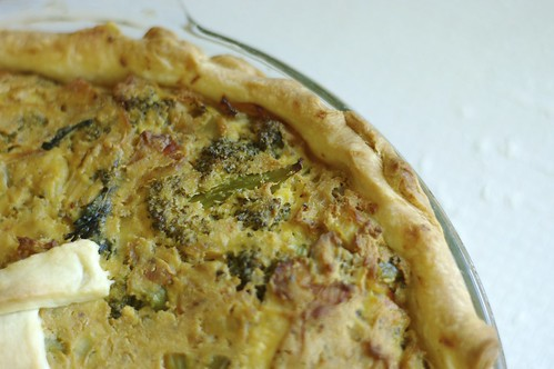 Broccoli and Caramelized Onion Vegan Quiche