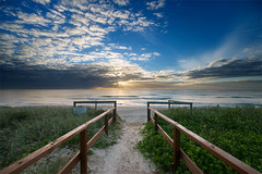 (Pawel Papis Photography) Tags: ocean morning blue sea sky sun seascape green beach water beauty grass clouds sunrise sand raw wave australia calm symmetry explore pointofview simplicity queensland rails mermaid dri handrails goldcoast pawel sigma1020 beachentry mermaidbeach canon400d