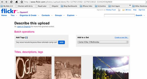 Tagging and adding photos to a set after Flickr Uploadr finishes