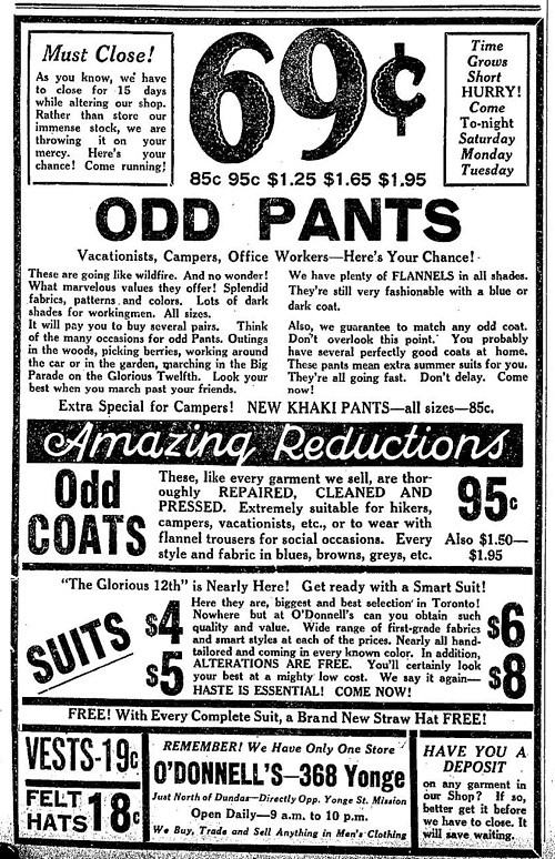Vintage Ad #1,162: Odd Pants, Get Your Odd Pants! Starting at 69 Cents! Get Your Odd Pants...