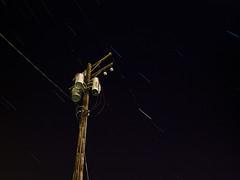 [197/365] Starfall (C-Towner) Tags: longexposure light ohio night stars olympus powerlines trail 365 e3 lakewood zuiko startrail zd 365steps zd1454mm exposurestacking ctowner 3652010
