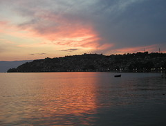 Sunset on the Lake (Fursa) Tags: city sunset sky lake reflection boat zoya unesco worldheritagesite macedonia ohrid    naskova