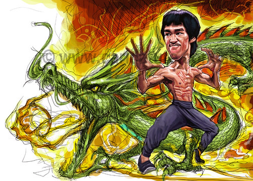digital caricature of Bruce Lee - 7 small watermark