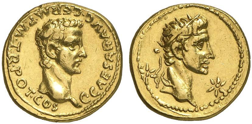 Caligula and Augustus Aureus with Stars...37-8 A.D.