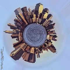 NYC South Manhattan Little Planet - West Side Panorama New York City (DiGitALGoLD) Tags: world park new york city nyc urban west architecture canon buildings river frank rebel xt boat is globe downtown little manhattan south side center jungle planet hudson usm 1785mm financial hoboken wfc sinatra stereographic f456