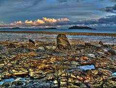 ocean sunset water stone photoshop thailand rocks lowtide phuket hdr highdynamicrange photomatix hdrphotography totallythailand topazplugin canonvixiahfs100