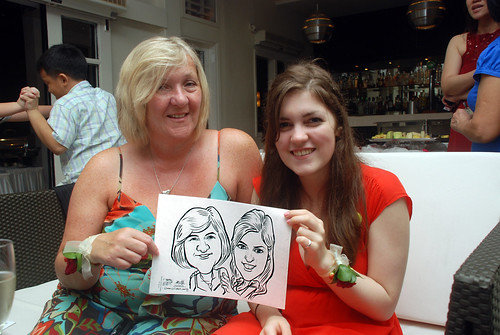 caricature live sketching for David & Christine wedding dinner - 16