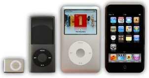 Photograph of different iPod devices