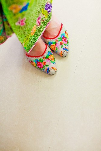traditional peranakan shoes with intricate beading details
