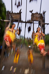 Tenganan, Pegeringsingan, Mekare-kare event -  Traditional Ferris Wheel (Mio Cade) Tags: travel bali girl wheel lady indonesia village culture swing ferries kare mekare raditional teganan