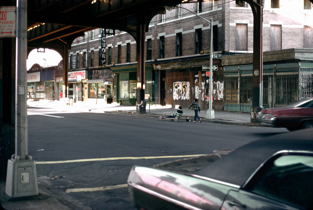"Boro Park, Brooklyn 1975 70s ""Go Cart"" under EL on New Utrecht Ave - full slide"