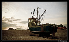 Frances B (Steve's Photography :-)) Tags: uk sunset beach kent nikon shingle pebbles d200 fishingboat lightroom hythe cs3 tripodmounted steveclancy