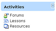 A section of a Moodle screen showing three icons: forums, lessons and resources