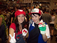 Mario and Ash (pwopa wok n woll) Tags: girl cosplay nintendo july mario pokemon ash comiccon luigi 2010 supermariobros sandiegocomiccon pokeball pokewalker