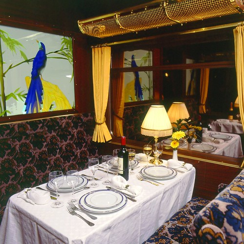 Swiss luxury train's dining carriage