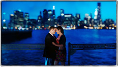 In the Night's Skyline (Ryan Brenizer) Tags: newyorkcity wedding woman man love brooklyn groom bride engagement nikon bokeh d3s lowelidlight bokehpanorama brenizermethod