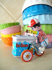 Vintage Ice Cream Truck Close Up (KnockKnocking) Tags: summer man color cute kitchen vintage toy bright foil pastel retro kawaii bowls